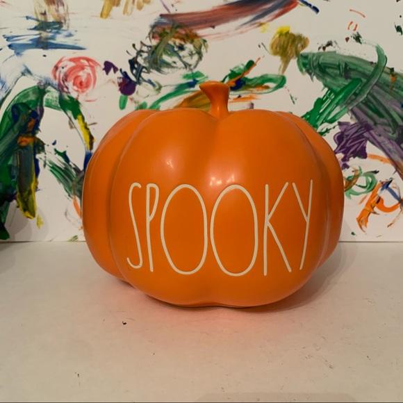 "New Rae Dunn Orange Halloween Pumpkin ""SPOOKY"""